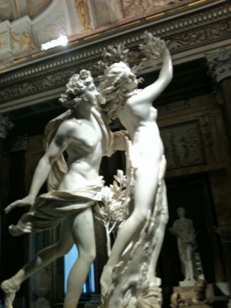 Apollo and Daphne by Bernini at the Galleria Borghese.  Daphne is turning into a laurel tree after asking her father to save her from Apollo's advances.  Not exactly what she probably had in mind when she asked for help....