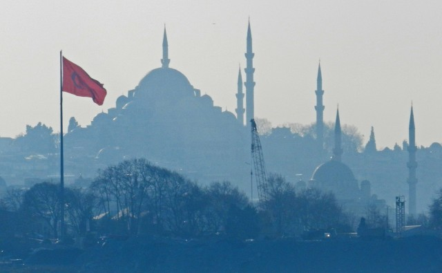 View of the iconic mosque from the Asia side of Istanbul