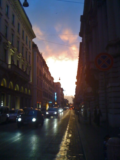 The streets in Rome at sunset