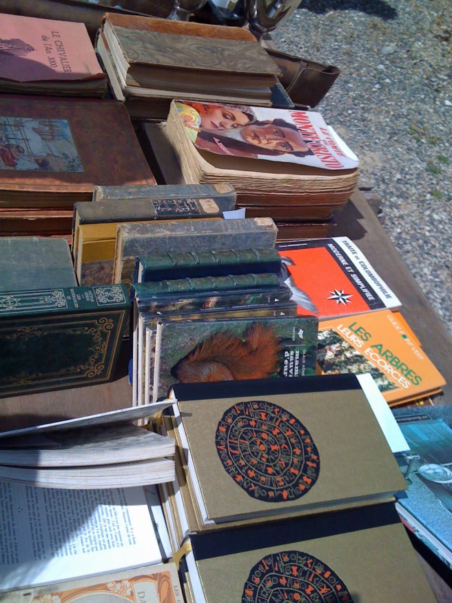 Books for sale at the antique market