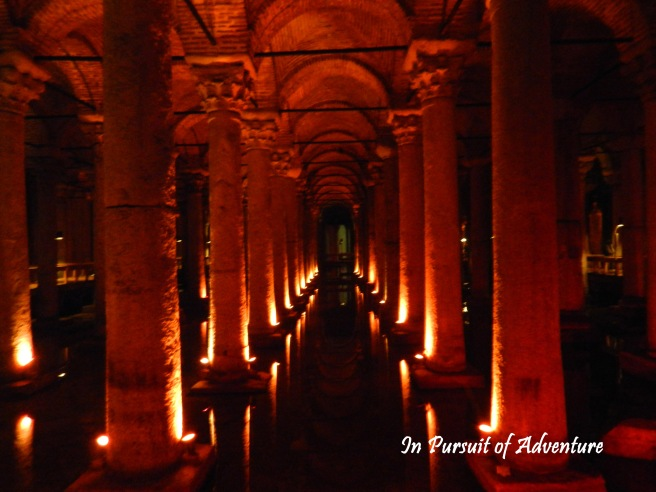 The Basilica Cistern-an underground chamber held up by thousands of Roman Collumns and was used to hold the water for the ancient city