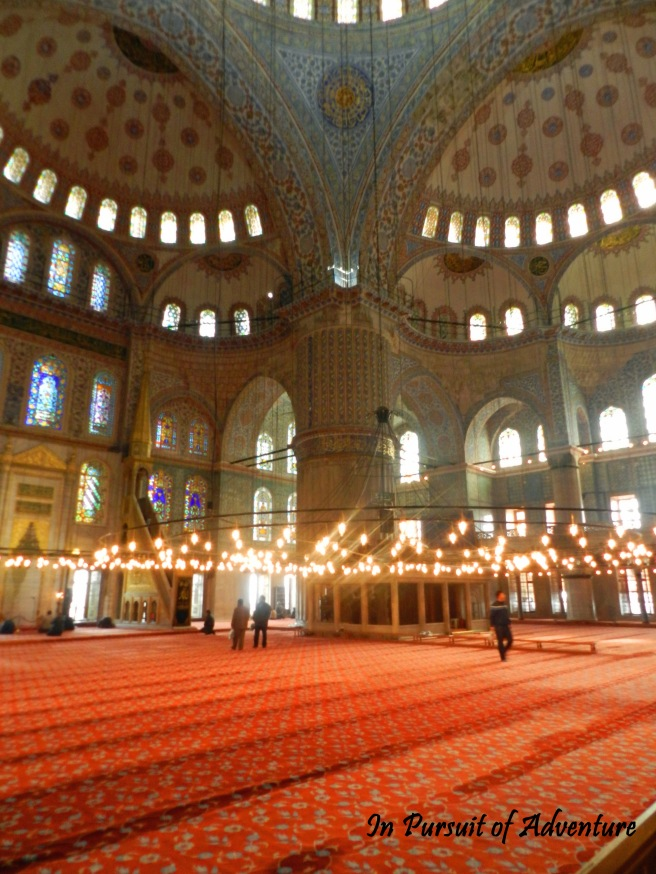 The Inside of the Blue Mosque, I could have spent another hour in here.  It was so incredibly peaceful and the artistry of the tile work was stunning