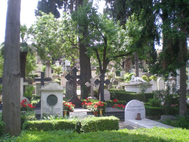 Graves spread out through the Protestant Cemetery