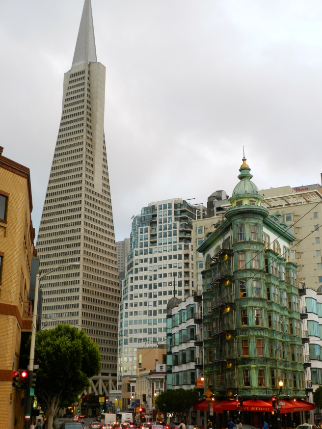 Cafe Zoetroppe and the TransAmerica Building from Colombus Street in North Beach