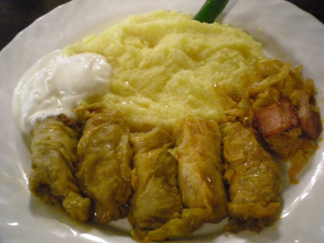 Stuffed Cabbage at Caru' cu Bere in Bucharest, which is one of the oldest beer houses in Bucharest dating back to 1879