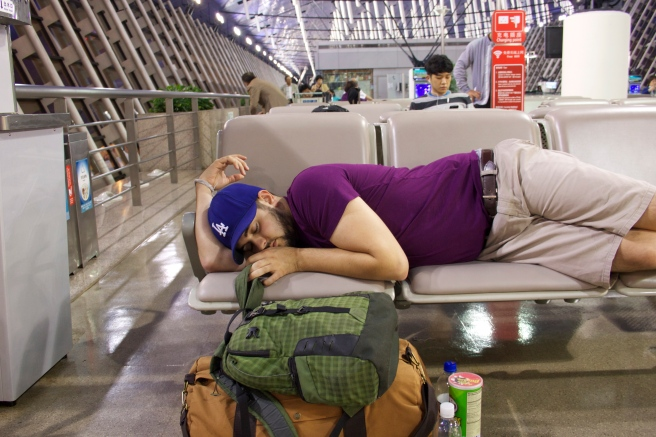 Alex sleeping in the Shanghai Airport, let the adventure begin!