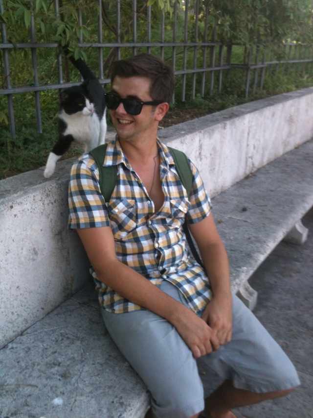 While the Romans may be afraid of black cats, Alex on the other hand makes friends with them