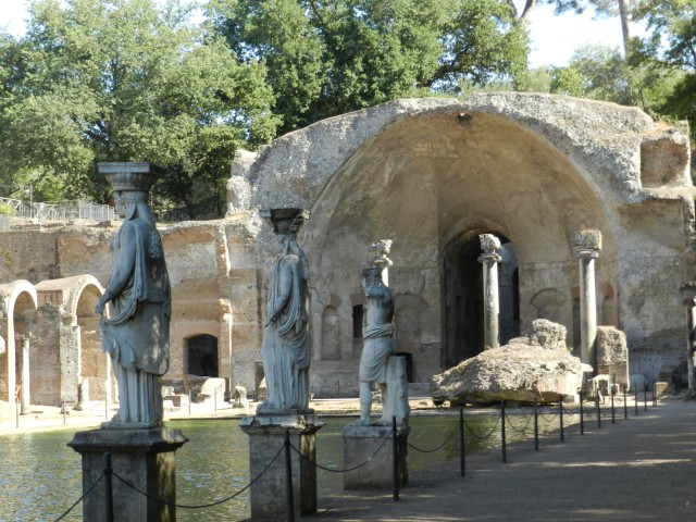 Greek Caryatids, reminiscent of the Acropolis, line the Conopus at Hadrian's Villa