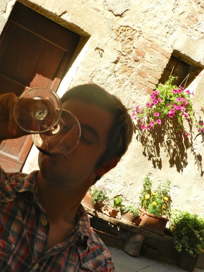 Drinking wine in Pienza, considered the most ideal Rennaisance town when built by Pope Pius II.  The Rennaisance would appreciate how much wine we tried in this town