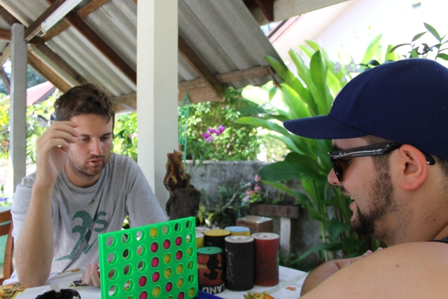 Alex and Christopher tackle an intense game of Connect 4 while at breakfast our first morning in Rawaii.  Thank you jet lag for the 6am wake up call!