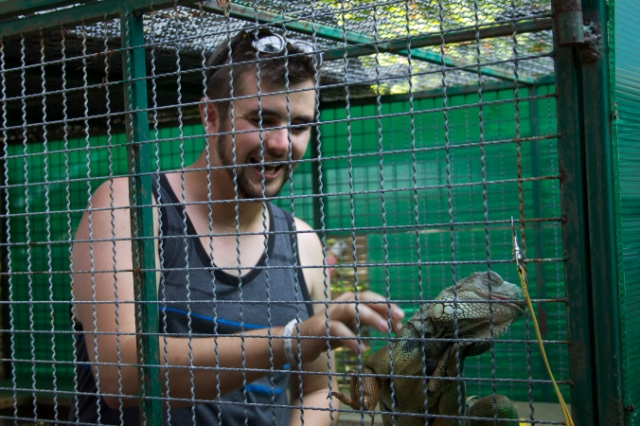Alex playing with the iguana at the beach bar in Rawaii