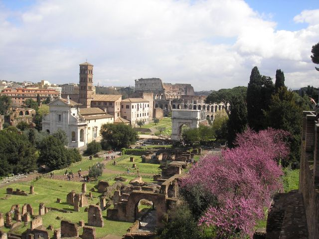 A glimpse into the Roman Forum, the Arch of Titus and the Coliseum from the Palatine Hill.  This is where Termini Station would be located in ancient times.  All roads left the city from this point and distance was measured from the Temple of Jupiter on the Capitoline Hill just opposite the Coliseum.