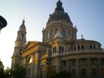 The sun setting on St. Stephens Basilica in Pest