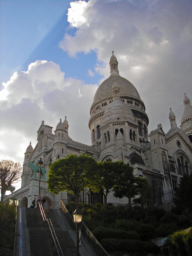 The Sacre Coure dominates the skyline of Montmartre