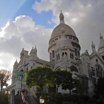 The Sacre Coure dominates the skyline of Montmartre in Paris