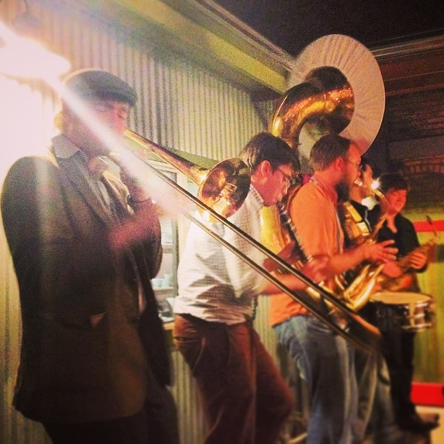 The Dixie Giants rocking out during our stop at Campo Fina during the Mardi Gras parade