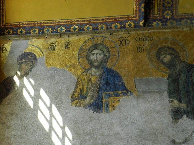 The Medieval Frescoes on the wall of the Hagia Sophia