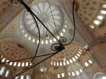 The ceiling of the Blue Mosque is made up of little mosaic tiles to form the intricate designs.