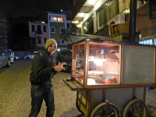 Alex is over joyed to have Kabob man right outside our hostel