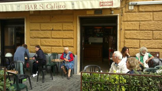 The patio at Bar San Calisto where regulars and tourists all people watch on a hot day. Photo courtesy of Trip Advisor