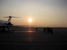 Getting off the plane in Macedonia