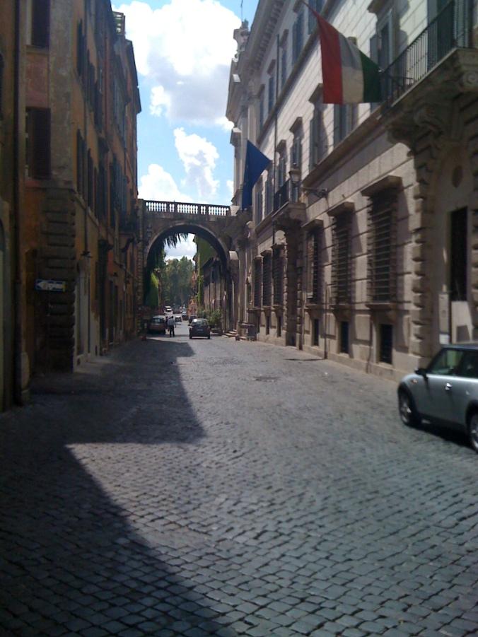 Via Giulia and Michelangelo's arch