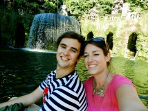 We occasionally take pictures together. They all look like this and the backgrounds just change. In this case one of the awesome fountains we found while wandering the gardens.