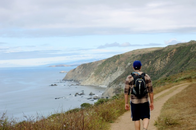 Alex hiking Tomales Point