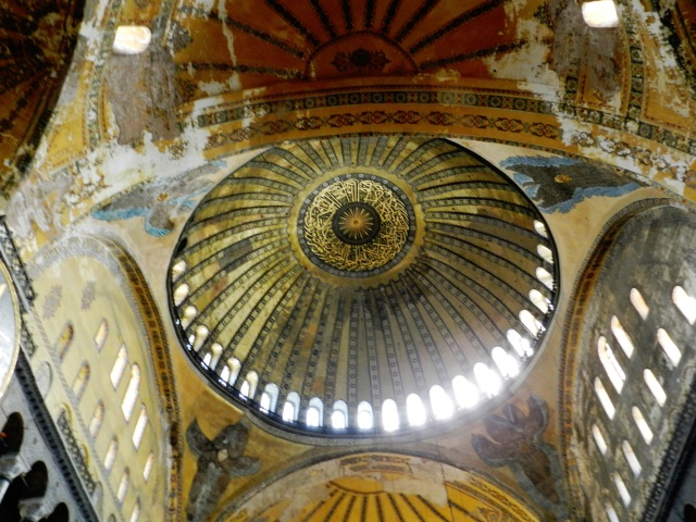 The domes of Hagia Sophia are one of the architectural achievements of the Byzantine age