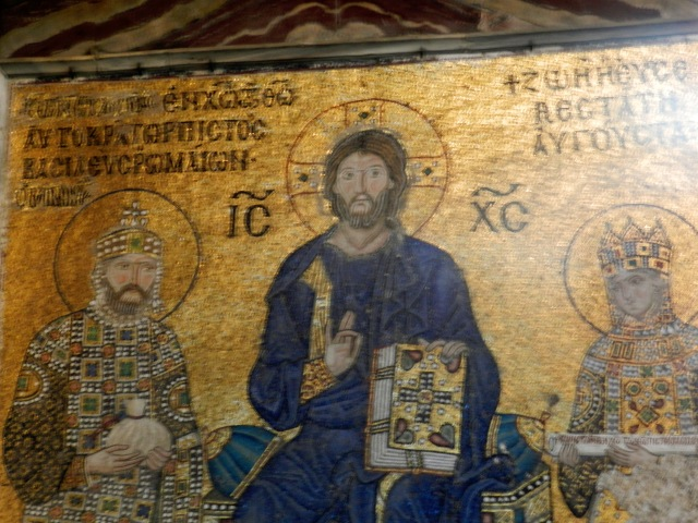 This mosaic shows Emperor Constantine IX and his wife Empress Zoe with Jesus in the center