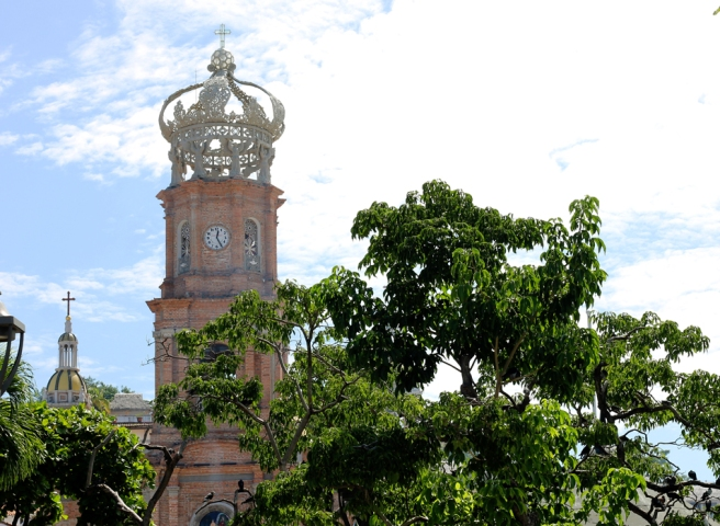 The Church of Our Lady of Guadalupe is the main church in downtown Puerto Vallarta and is most famous for its crown that adorns the top of it.