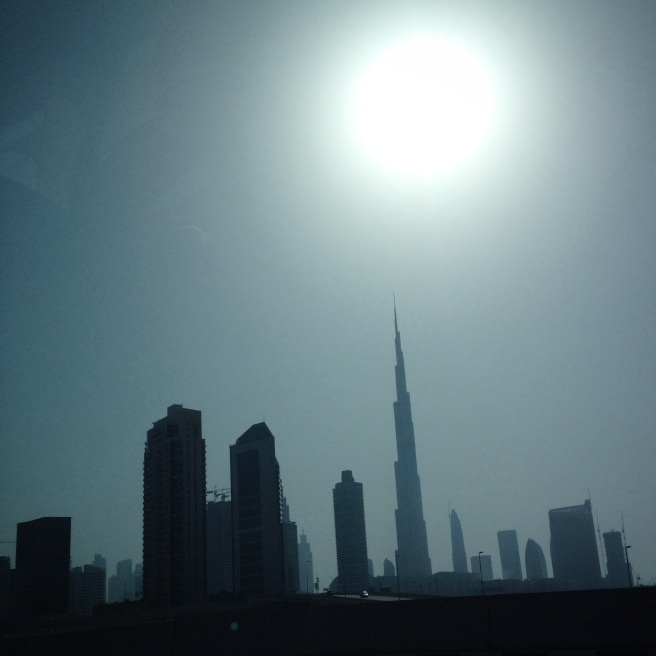 Downtown Dubai as seen by my phone from a moving car on the highway.
