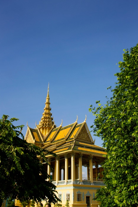 The grand architecture of the palace in Phnom Penh