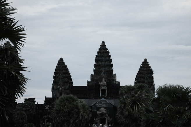 The famous main temple of Angkor Wat.  We got here before sunrise to catch the mythical sunrise but of course it was so overcast we couldn't see anything.  The best thing about coming early was we were there before all the tour buses