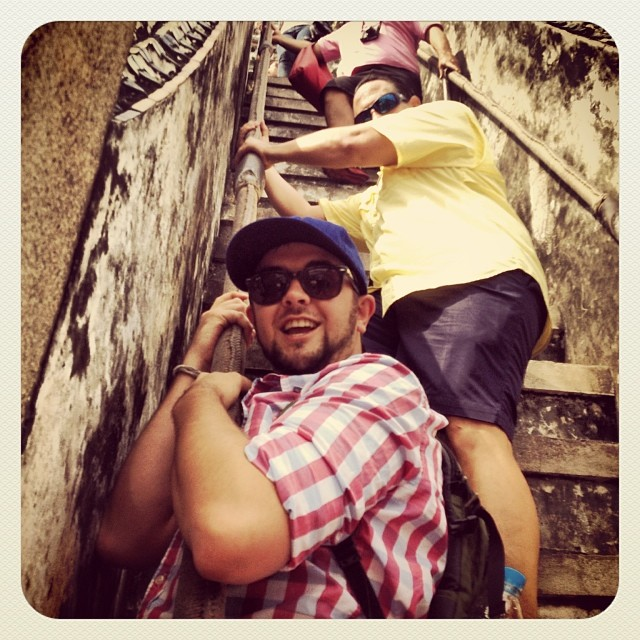 Alex Clinging on to the Rope Bannister at Wat Arun