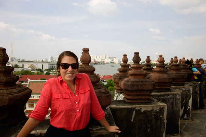 Ashley at the top of Wat Arun