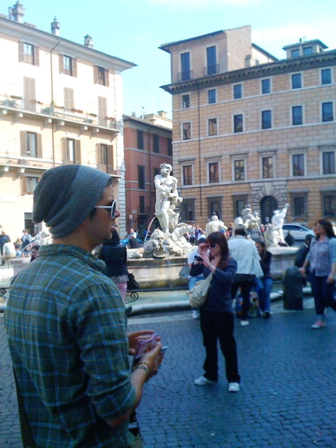Alex Strolling Through Piazza Navona