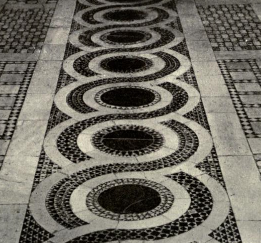 Cosmati floors are comprised of fragments of ancient marble to create these intricate patterns